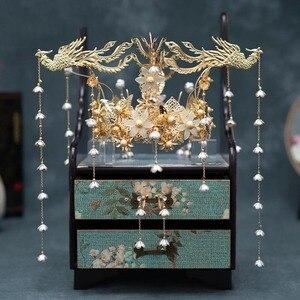 Image 3 - HIMSTORY Luxus Hochzeit Braut Vintage Chinesischen Pfau Haar Zubehör Braut Kopfschmuck Gold Phoenix Tiara Krone Haar Schmuck