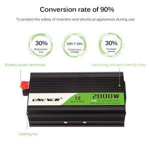 Image 5 - Onever 2000W Car Inverter AC 12V To 220V Car Voltage Power Converter with Circuit Protection for DVD players Car Vacuum Cleaner