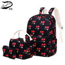 FengDong 3pcs/set korean style children school bags for girls cute cherry printing school backpack set clutch bag dropshipping(China)