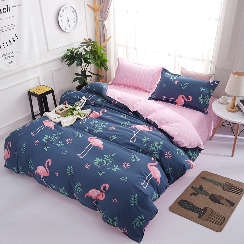 Bedding Pink Flamingo Duvet Cover Set Animal Printed Bird ...