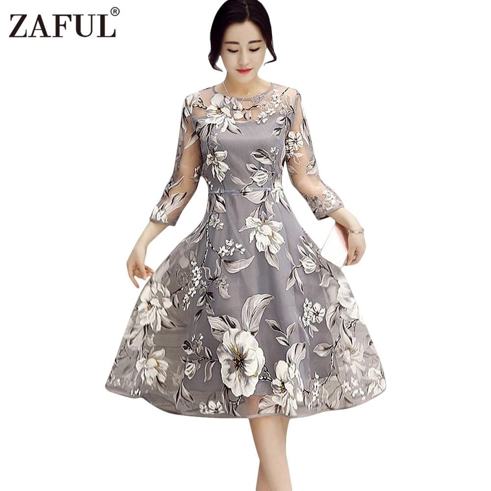 9f88d9f5b01 ZAFUL Plus Size Women Dresses Boho Round Neck 3/4 Sleeve Floral Print  See-Through Midi Party Dress Lady Female Vestidos de festa