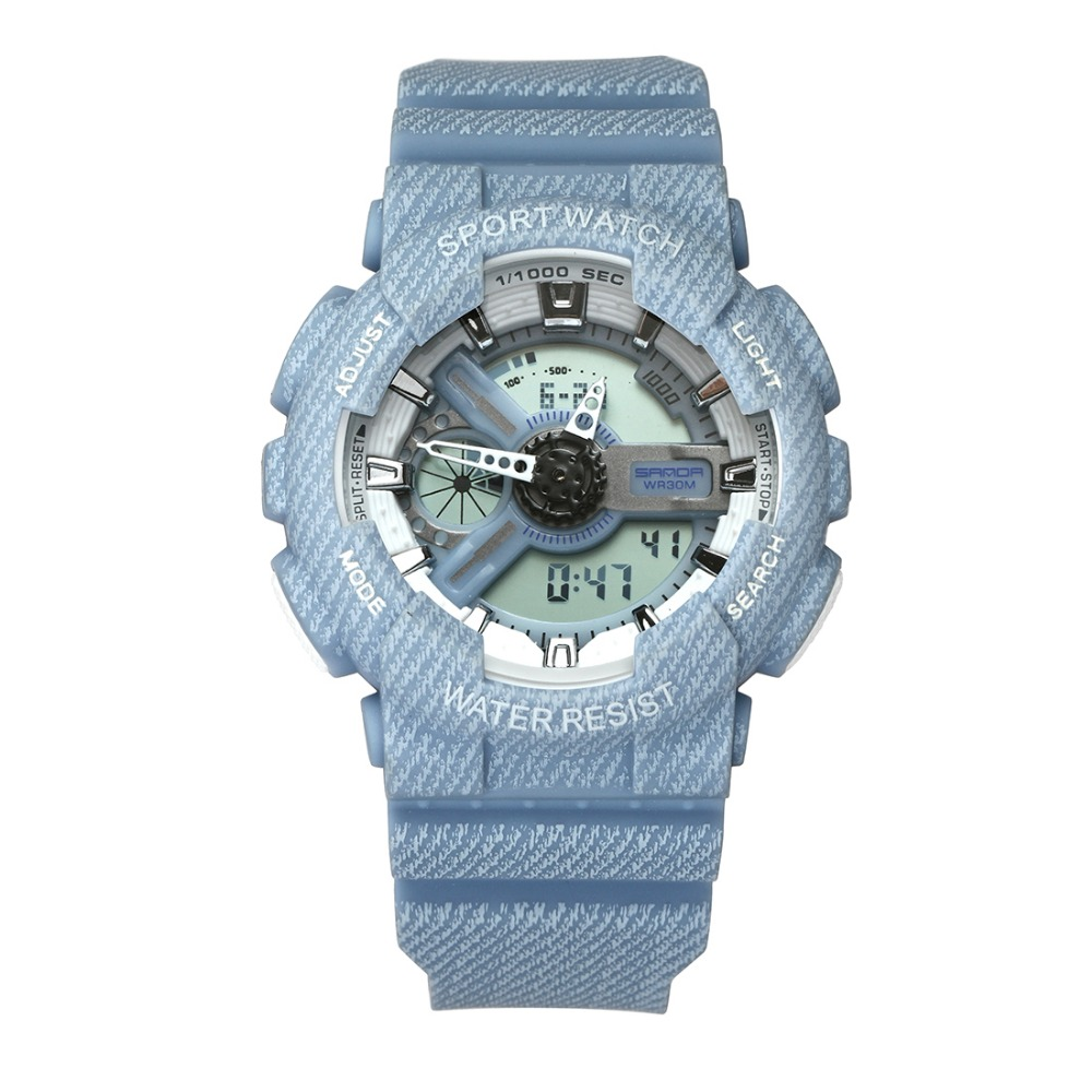 SANDA Brand Couple Watch Women Fashion Cowboy LED Digital Wristwatches Casual Sport Watches Waterproof Clock Men Relojes Mujer