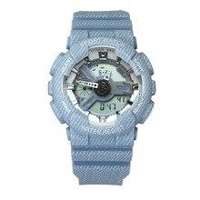 Marca Sanda, par de relojes para mujer, moda vaquera, relojes de pulsera digitales LED, relojes deportivos informales, reloj impermeable para hombre, relojes para mujer