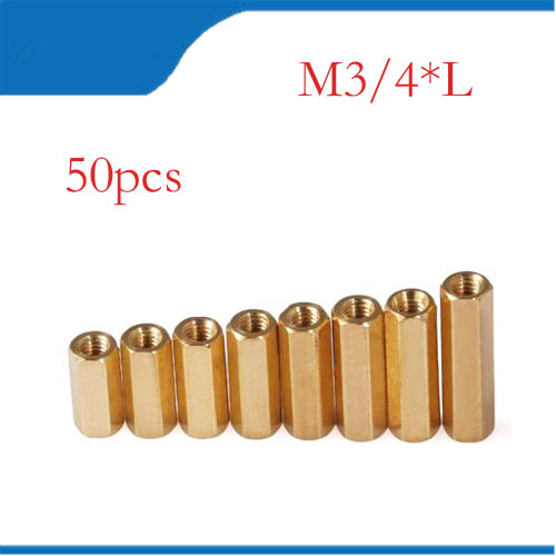 Copper pillar 50Pcs M3 <font><b>M4</b></font> Double-pass Studs Copper Pillars Through-holes <font><b>Standoff</b></font> Screw Spacers Isolation Spacing Screw image