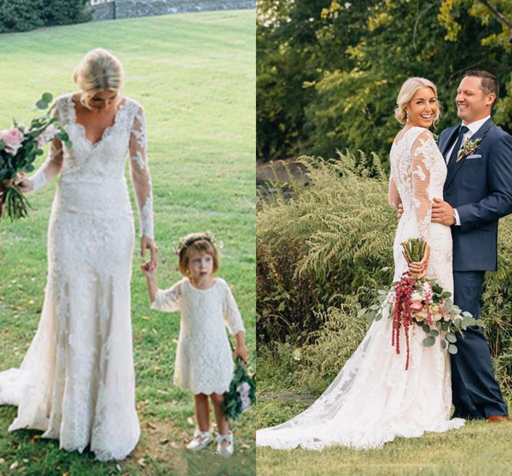 2019 Country Sheath Wedding Dresses With Long Sleeves V Neck Elegant Long Wedding Gowns Illusion Back Lace Wedding Bridal Gowns