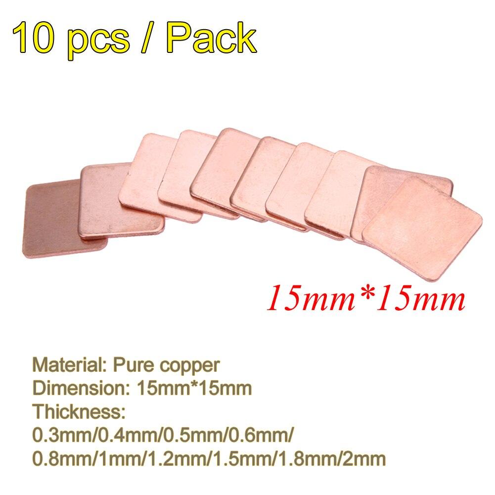 10 Pcs 15*15mm 0,3/0,4/0,5/0,6/0,8mm Kühlkörper Reinem Kupfer Shim Thermische Pad Für Laptop Ic Chipset Gpu Cpu Leitfähigen Kühlkörper Angenehm Im Nachgeschmack