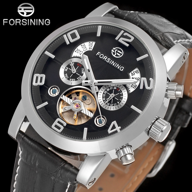 FORSINING FSG165M3S4  new Automatic fashion dress Men watch tourbillon silver wristwatch for men best gift free shipping-in Mechanical Watches from Watches    1