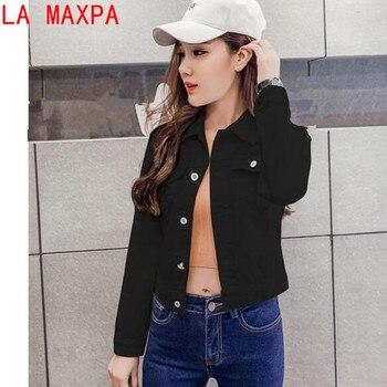 26b0d661708 Летняя куртка для женщин модная Осенняя джинсовая рубашка с длинными  рукавами Корейская куртка стрейч короткая джинсовая куртка пальто .