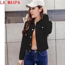Летняя куртка для Для женщин Мода Осень с длинными рукавами джинсовая рубашка корейский куртка стрейч короткие джинсовая куртка, пальто chamarra Mujer