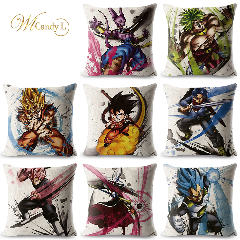 WL Candy L Cartoon Dragon Ball Cushion Cover Beige Linen Pillow Cover Decorative Pillows for Sofa Office 45x45cm funda cojin