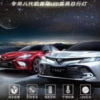 SHCHCG For Toyota Camry 2018 2019 Front Bumper White Daytime Running Lights Led Front Fog Lamps Lights Set Car Stikers 2Pcs/set