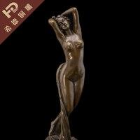 Real Bronze Original Abstract Nude Female Figure Sculpture Statue Modern Art Garden Decoration 100% real Brass Bronze