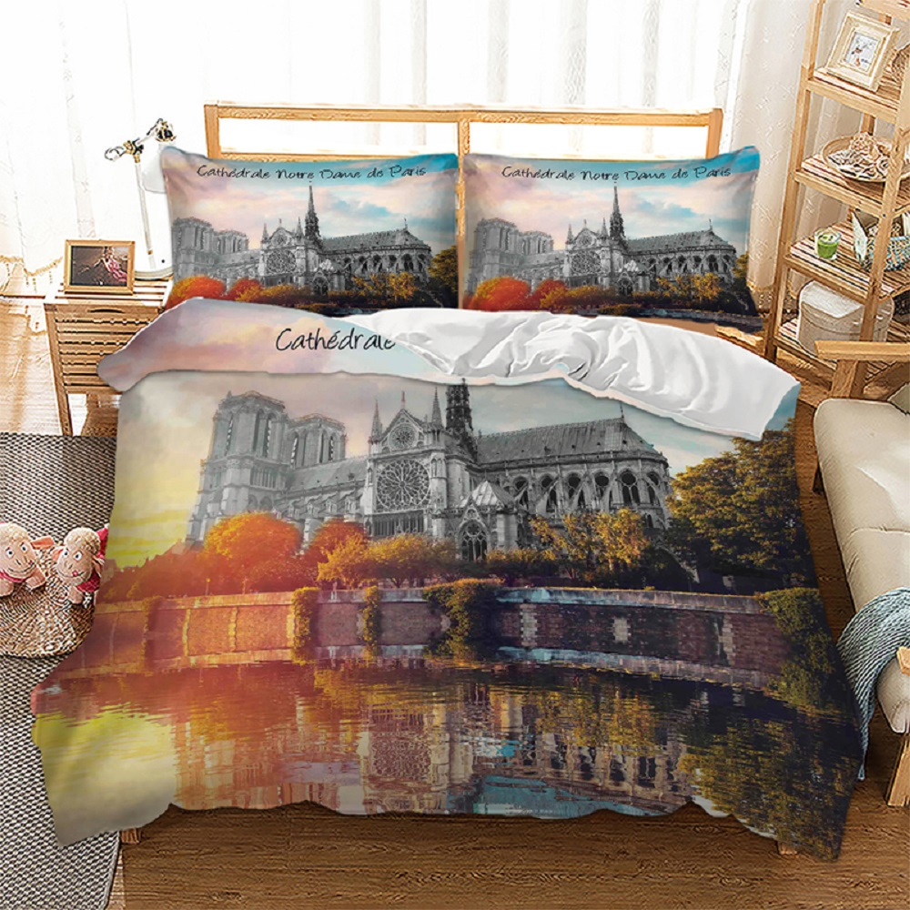 Famous City View Bedding 3D Notre Dame Cathedral in Paris Printed Ancient Retro View Duvet Cover Set 3 Pieces with 2 Pillow Sham