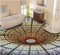 Custom luxury lighted floor tiles wallpaper Colorful 3 d vinyl flooring wallpapers for living room 3d flooring pvc water