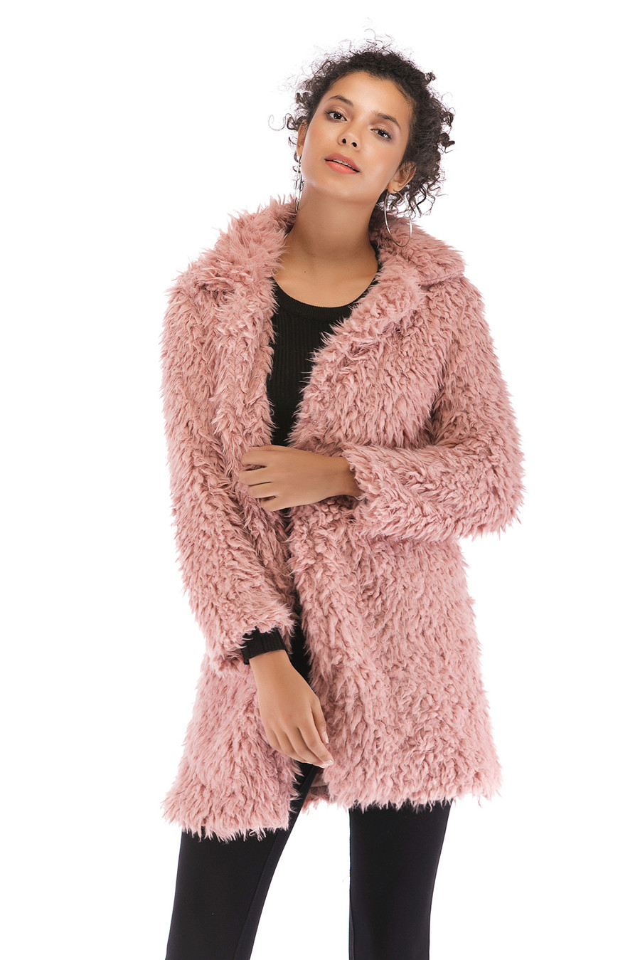 Gladiolus 2018 Women Autumn Winter Coat Turn-Down Collar Long Sleeve Covered Button Long Warm Shaggy Faux Fur Coat Women Jackets (35)