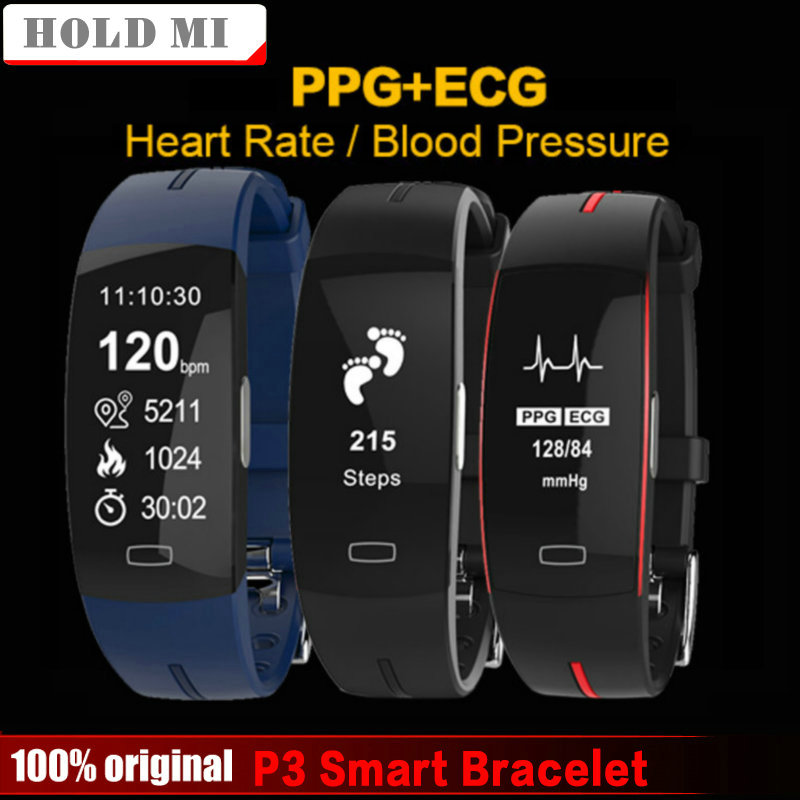 Hold Mi P3 Smart Band ECG+PPG Blood Pressure Heart rate Monitor IP67 waterproof Pedometer Sport Fitness Bracelet for IOS Android