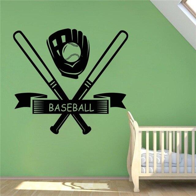 DIYWS Baseball Bats Wall Decal Sport Game Vinyl Sticker Home Interior Removable Wall Murals Housewares Design