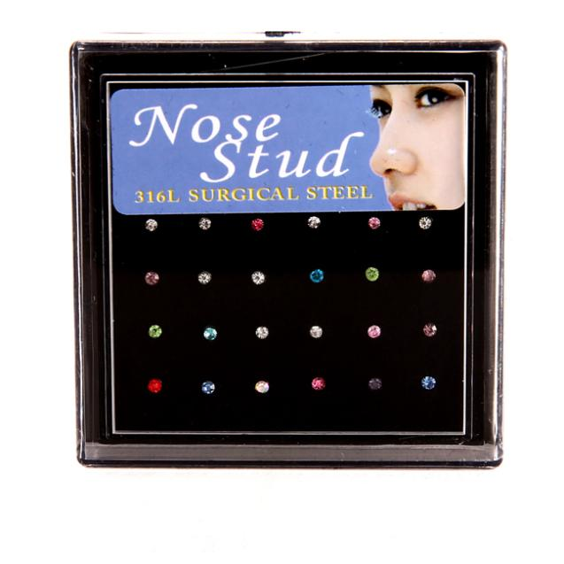 24pcs Nose Ring Fashion Body Smykker Nose Stud Rustfritt Kirurgisk Stål Nese Piercing Crystal Stud drop shipping