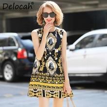 Delocah Fashion Designer Summer Dress Sleeveless Tank Luxury Baroque Gold Printed Embossed Beading Diamond Short Vintage