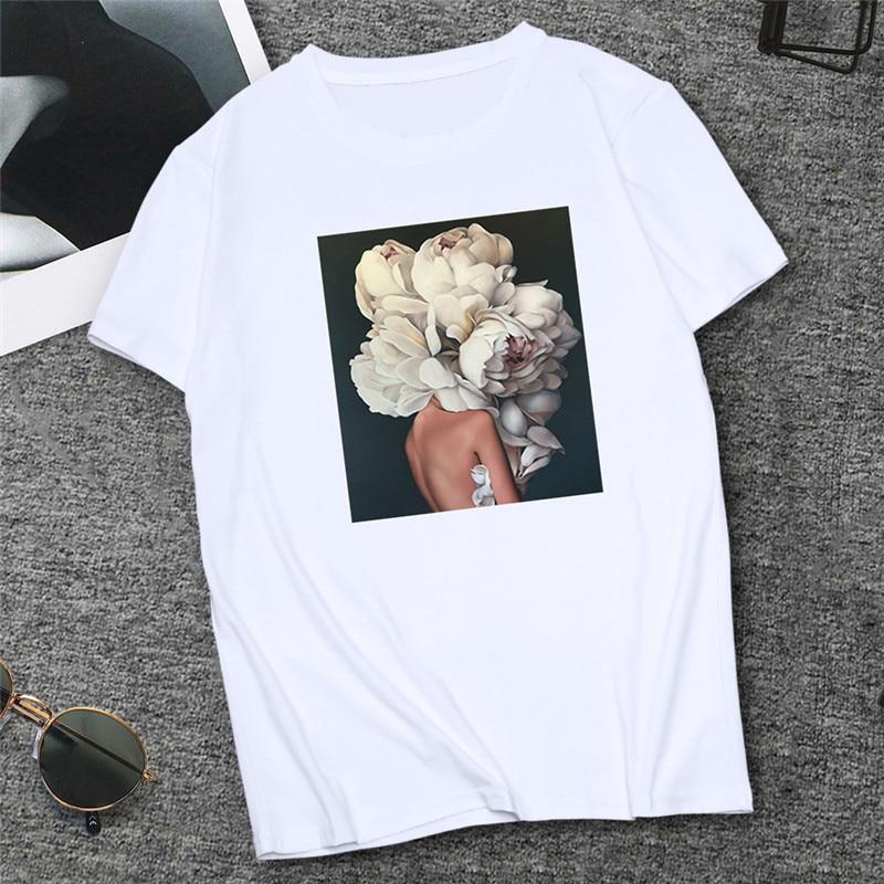 2019 Sexy Flowers Feather Print tshirt Femme Women Tee   Shirt   Harajuku   T  -  shirt   White Tops Summer Female Clothing