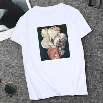 2019 Sexy Flowers Feather Print tshirt Femme Women Tee Shirt Harajuku T-shirt White Tops Summer Female Clothing