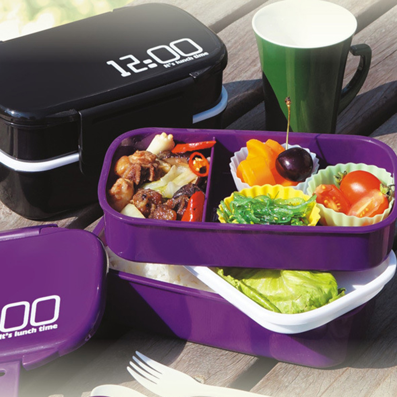 Hot Sale New 2 Layer plastic microwaveable food containers bento lunchbox Kitchen Tools 1410ML 2C