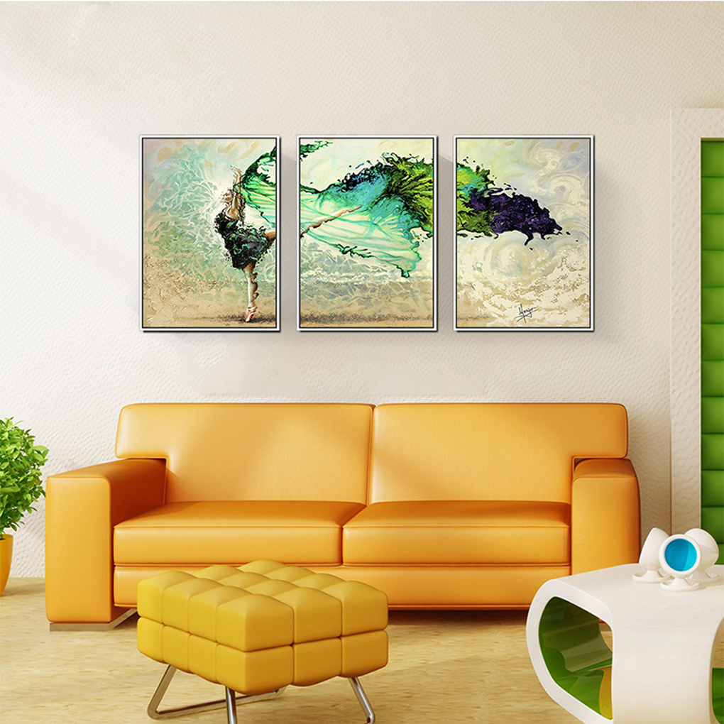 3 Panels Dancing Girl Spray Oil Paintings Wall Art Pictures for ...