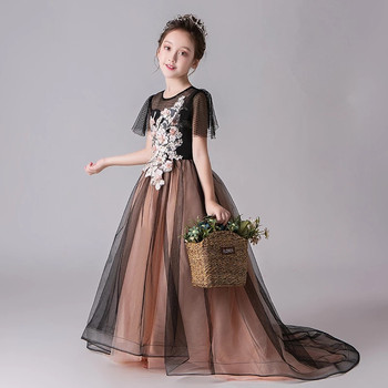 2018New Luxury Children Girls Model Performance Catwalk Evening Party Long Tail Dress Baby Kids Appliques Flowers Holiday Dress