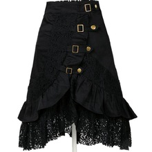 Wind explosion models in Europe and America punk rock gothic black lace skirts