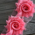 1.5''  shabby chic  flower mini shabby flower trim rose flower Coral,camel,Lt.Blue,lavender,grey,Gold yellow 1 yard