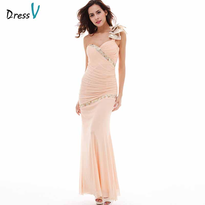 Dressv Pearl Pink One Shoulder   Evening     Dresses   Chiffon Beading Bowknot Ruched Formal   Evening   Prom Celebrity   Dress     Evening     Dress