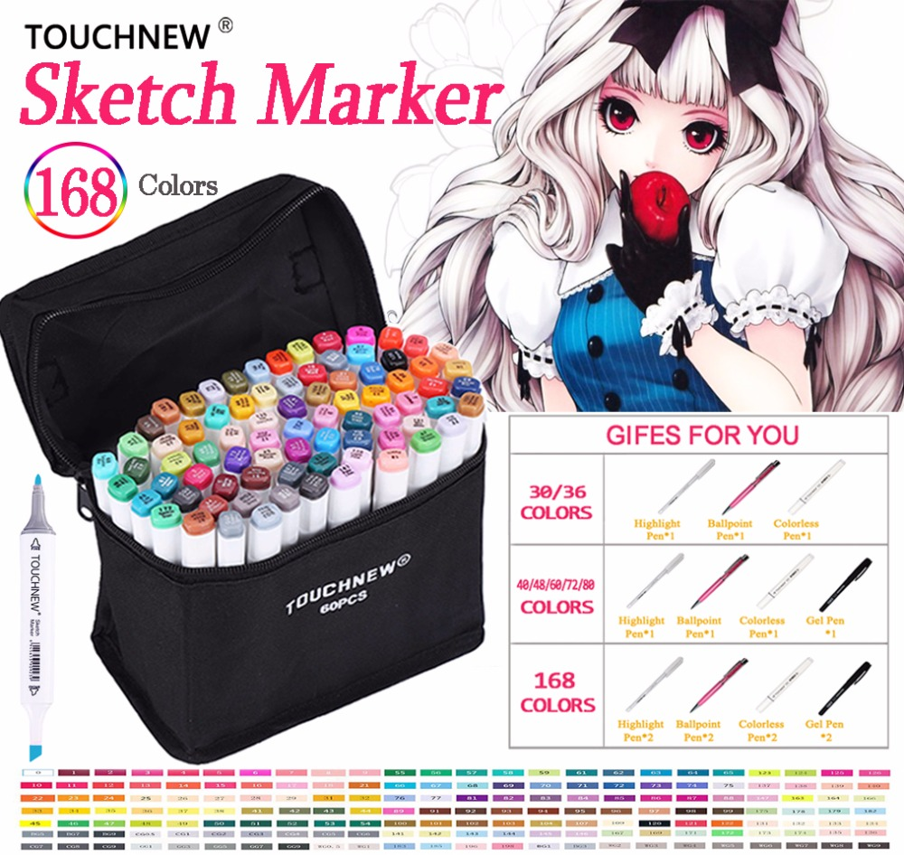 Touchnew 30 40 60 80 168 Colors Pen Marker Set Dual Head Sketch Markers Brush Pen For Draw Manga Animation Design Art Supplies цена