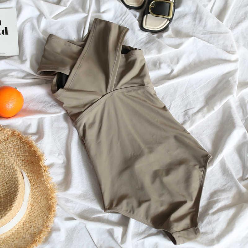 2019 Black Sexy Cross Halter Women Swimwear One Piece Swimsuit Solid Slim Monokini Bodysuit Bathing Suits Beach Wear Swim