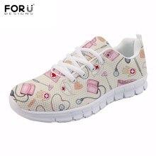 FORUDESIGNS zapatillas con patrón de enfermera de dibujos animados  divertidos para chicas adolescentes Casual transpirable con e327d38753fd