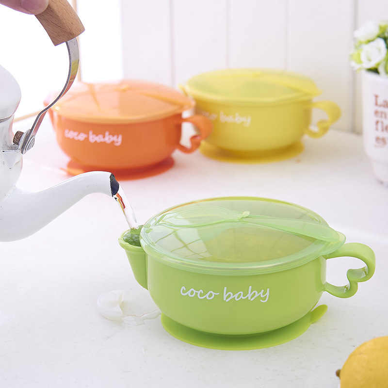 เด็กกินน้ำฉีดฉนวนกันความร้อนชามอาหารเด็กเด็กชุดอุปกรณ์ให้อาหารสำหรับเด็กอาหารเย็นจานช้อน