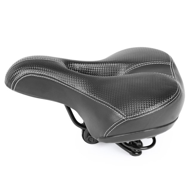 Black Wide Thicken Bicycle Saddle Soft Comfortable MTB Mountain Road Sponge Cushion Imitation Leather Bike Saddle Seat Mat