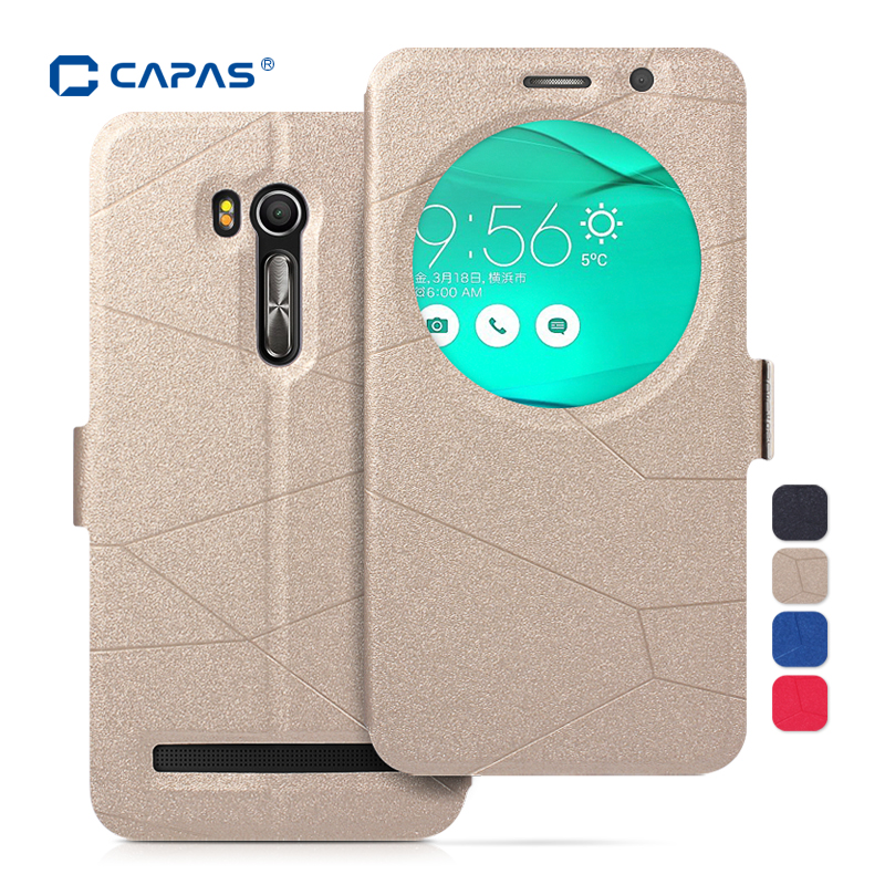 separation shoes 60a0e 23db6 US $5.99  Leather Cover for ASUS Zenfone Go TV 5.5 ZB551KL Stand Flip Case  CAPAS View Window Smart Sleep Wake Protective Shell Shockproof-in Flip ...