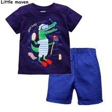 Peu maven enfants vêtements ensembles de 2017 d'été garçons Coton à manches courtes marque crocodile imprimer t shirt + shorts 20093