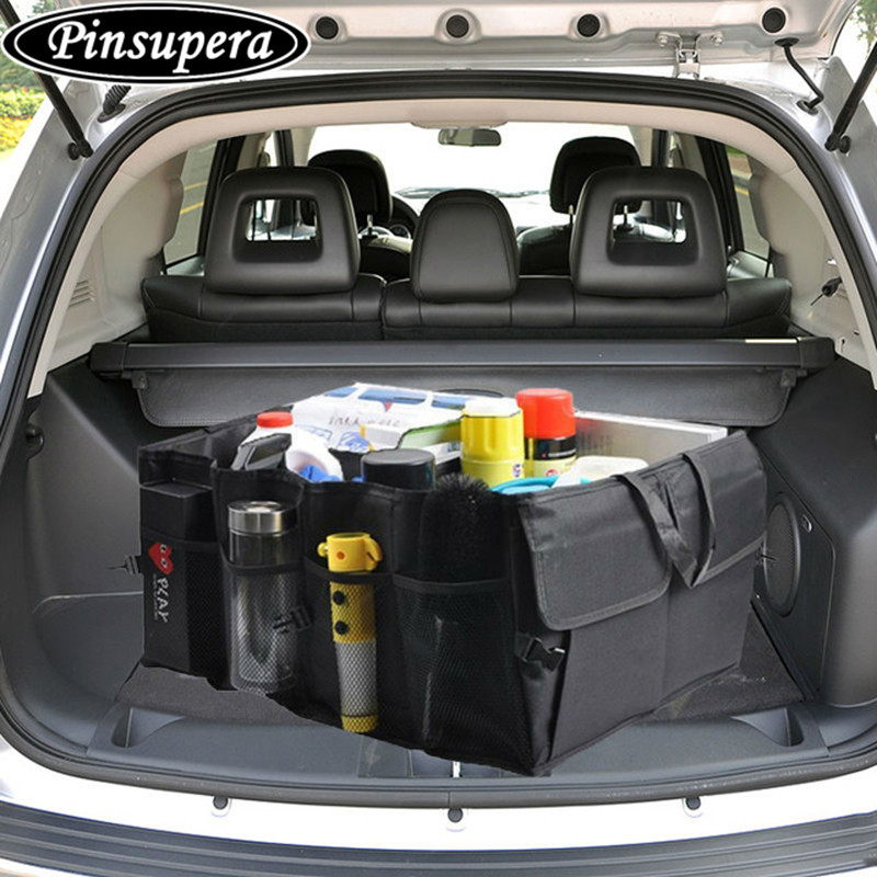 Collapsible Black Car Storage Trunk Organizer Bag Seat Pocket Cargo Trunk Storage Box Net bags Car Auto Interior Accessories