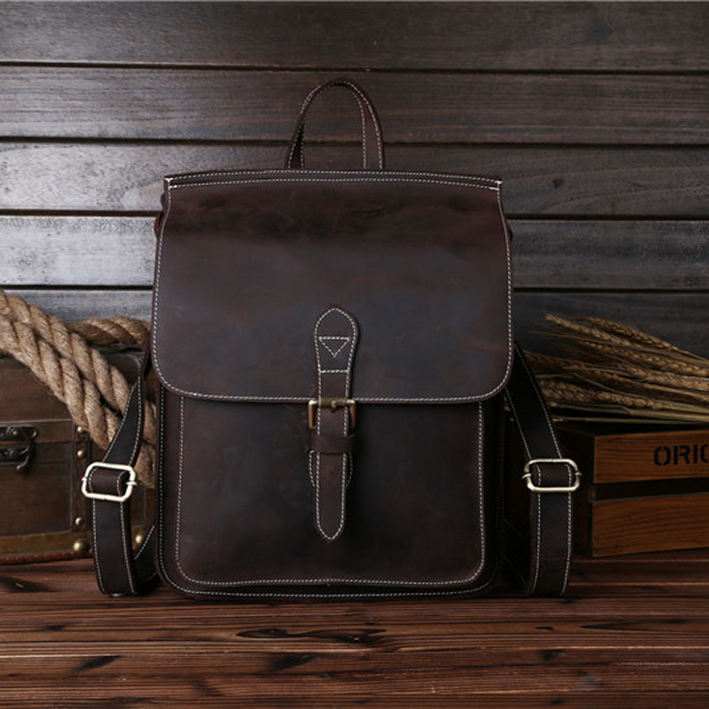 High Quality Men Genuine Leather backpacks Vintage Famous Designer Brand School Bag for BoysTeenagers Handmade Backpack 8089 famous brand luxury men backpack genuine leather vintage mochila black men sport double shoulder bag men s backpacks bp00042