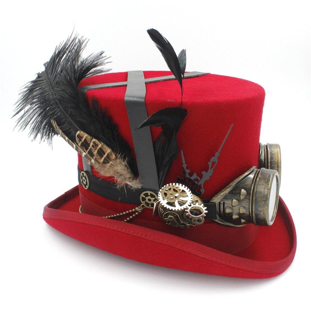 100% Wolle Frauen Männer Handgemachte Steampunk Top Hut 4 Farbe Dampf Punk Gläser Getriebe Feder Fedora Cosplay Hut 4 Größe