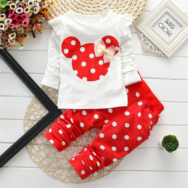 2016 super quality dot long sleeve cotton minnie printed toddler children set bow t shirt pant