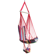 Cotton Rope Garden Swing Chair Thicken Portable Hammock With Foot Pad Wooden Indoor Outdoor Swing Relax Camping Hang Chair Seat
