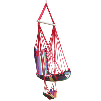 Cotton Rope Garden Swing Chair Thicken Portable Hammock With Foot Pad Wooden Indoor Outdoor Swing Relax Camping Hang Chair Seat cotton rope garden swing chair thicken portable hammock with foot pad wooden indoor outdoor swing relax camping hang chair seat