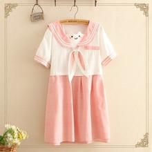 57db91cbaed25e Japoński różowy królik łuk Sailor kolor Kawaii sukienka kobiety wiosna  jesień słodkie hafty Patchwork z krótkim