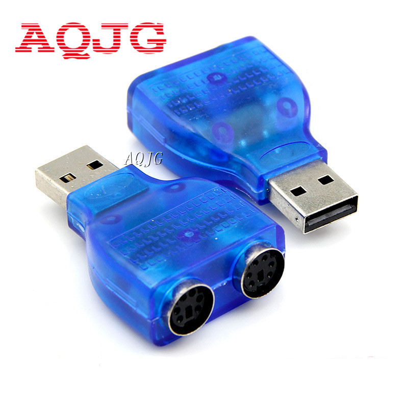 USB TO PS2 PS/2 Adapter Keyboard Mouse to USB Converter Adapter Adaptor Connector for  Computer  Laptop Usb2.0 New Blue  AQJG new arrival mini usb to ps2 ps 2 converter splitter adapter for pc keyboard mouse wholesale free shipping dropshipping