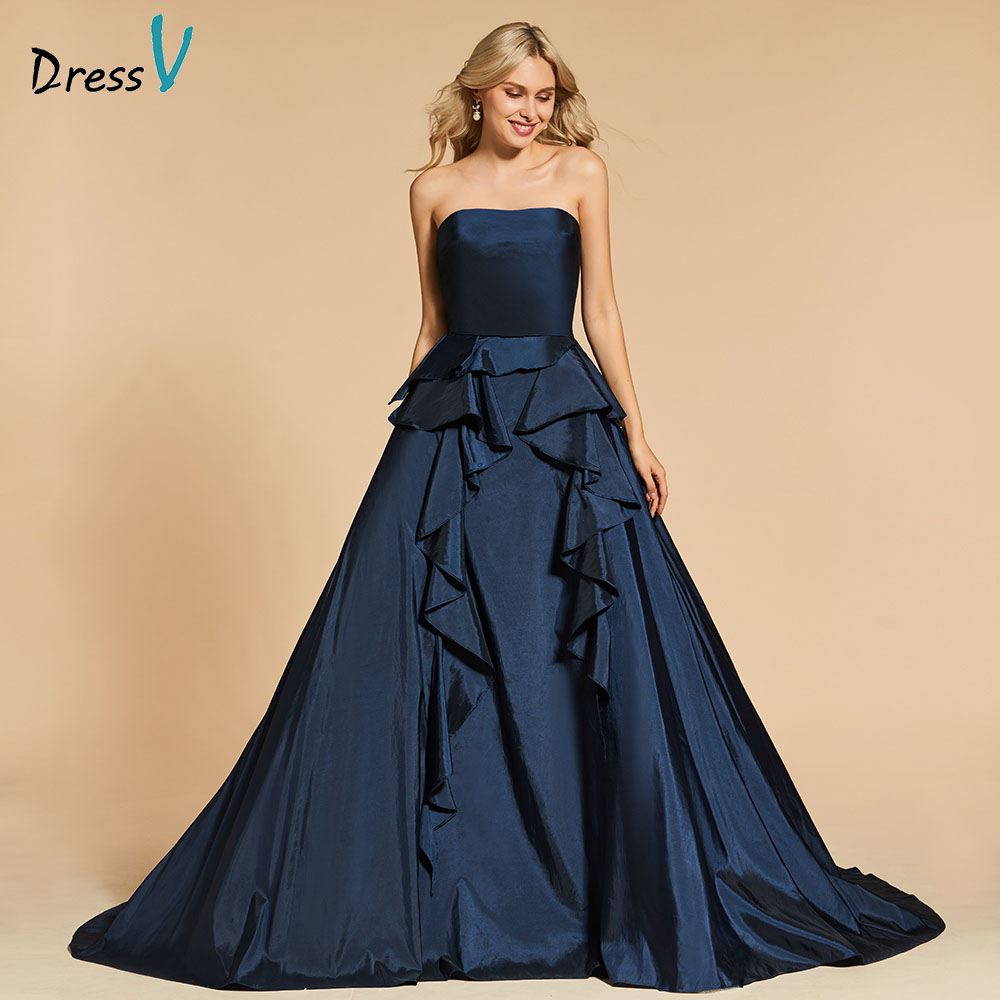 Dressv evening dress ball gown elegant strapless floor-length ...