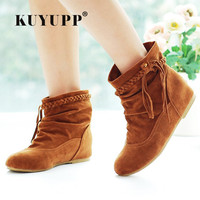 Plus Size 34 44 Flat Women Ankle Boots Spring Autumn Ladies Boots Fashion Lace Up Footwear