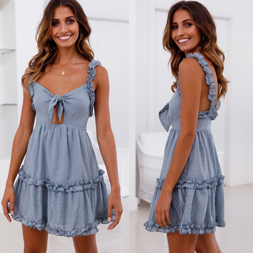 Backless Off Shoulder Ruffles Dresses Sexy V Neck Bow Tie