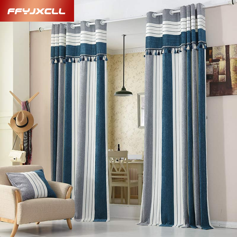 Blue Striped Modern Curtains For The Bedroom Elegant Window Curtains For Living Room Blinds Drapes Ready Made Curtains